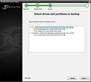 Select Drive for Image Backup