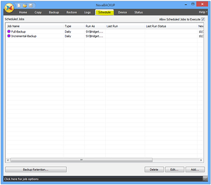 NovaBACKUP Screenshot - Automatic Backup Scheduled