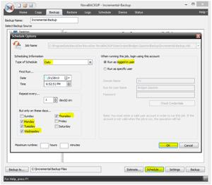NovaBACKUP Screenshot - Schedule Incremental Backup