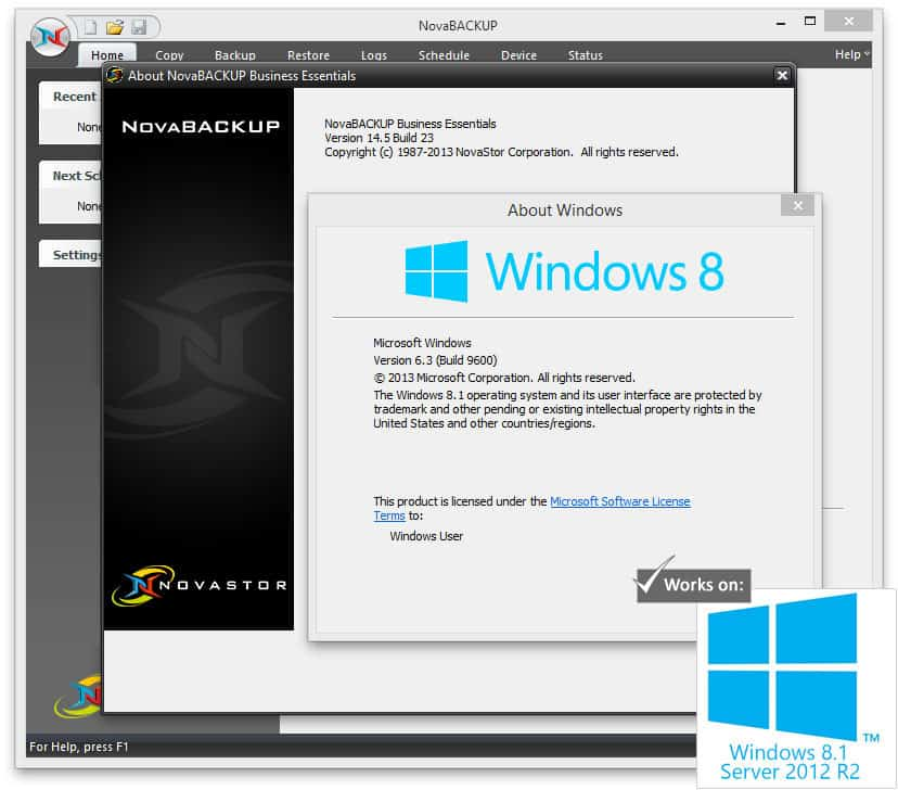 NovaStor supports Windows Server 2012 R2 and Windows 8.1.